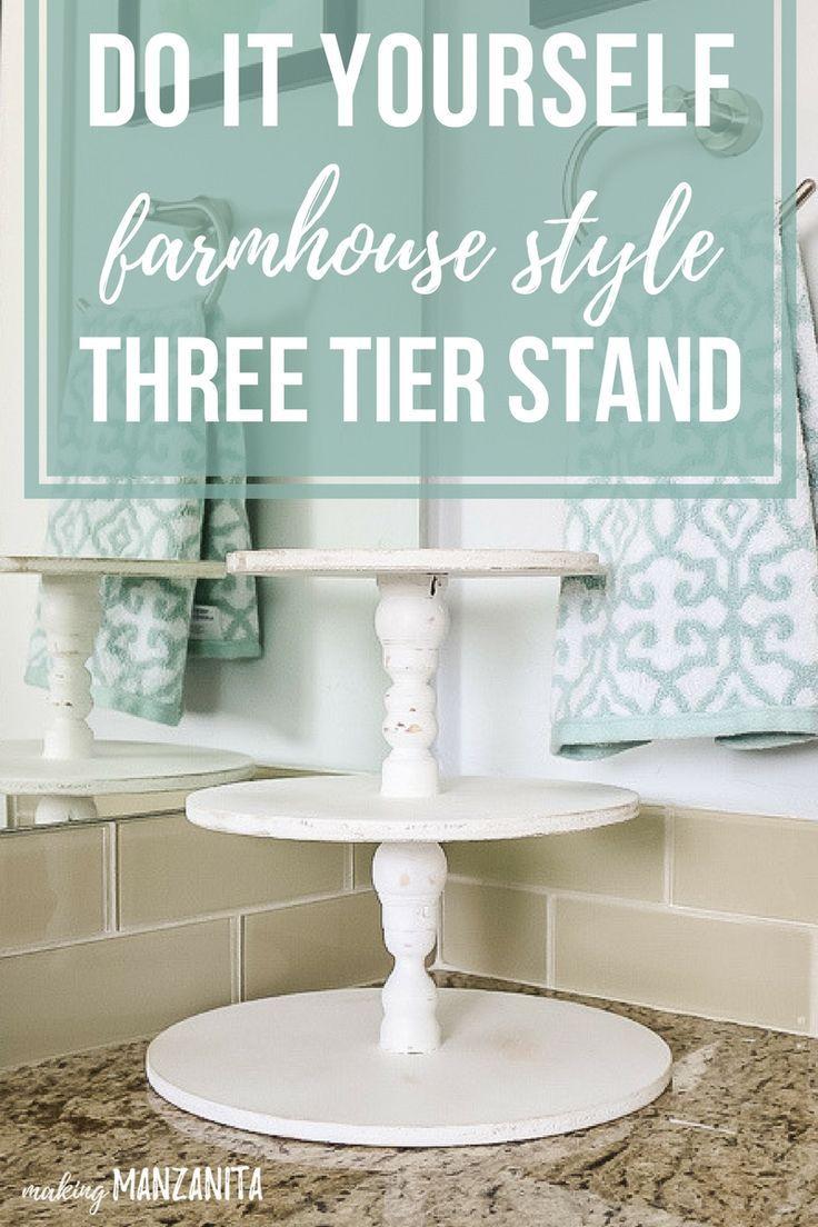 DIY Farmhouse Three Tier Stand for Bathroom Countertop Storage ...