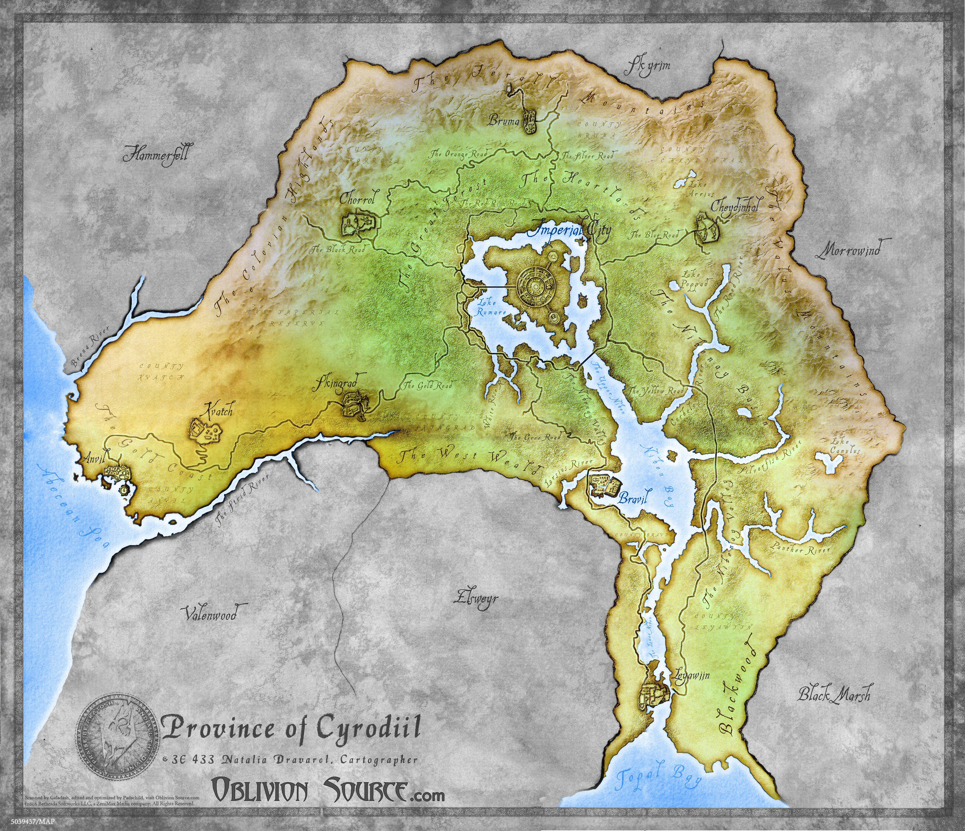 Oblivion - Province of Cyrodiil map. I love Skyrim, but I think Cyrodiil will always be my home. Nothing like the Imperial City at dusk...