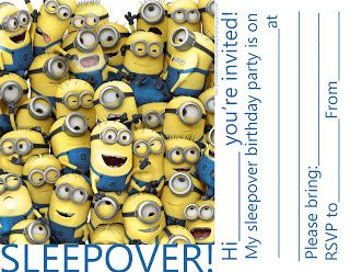 Free sleepover invitation for boys and girls who loved the minions