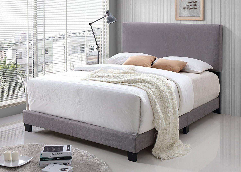 Amazon Com Light Grey Linen Fabric Queen Size Upholstered
