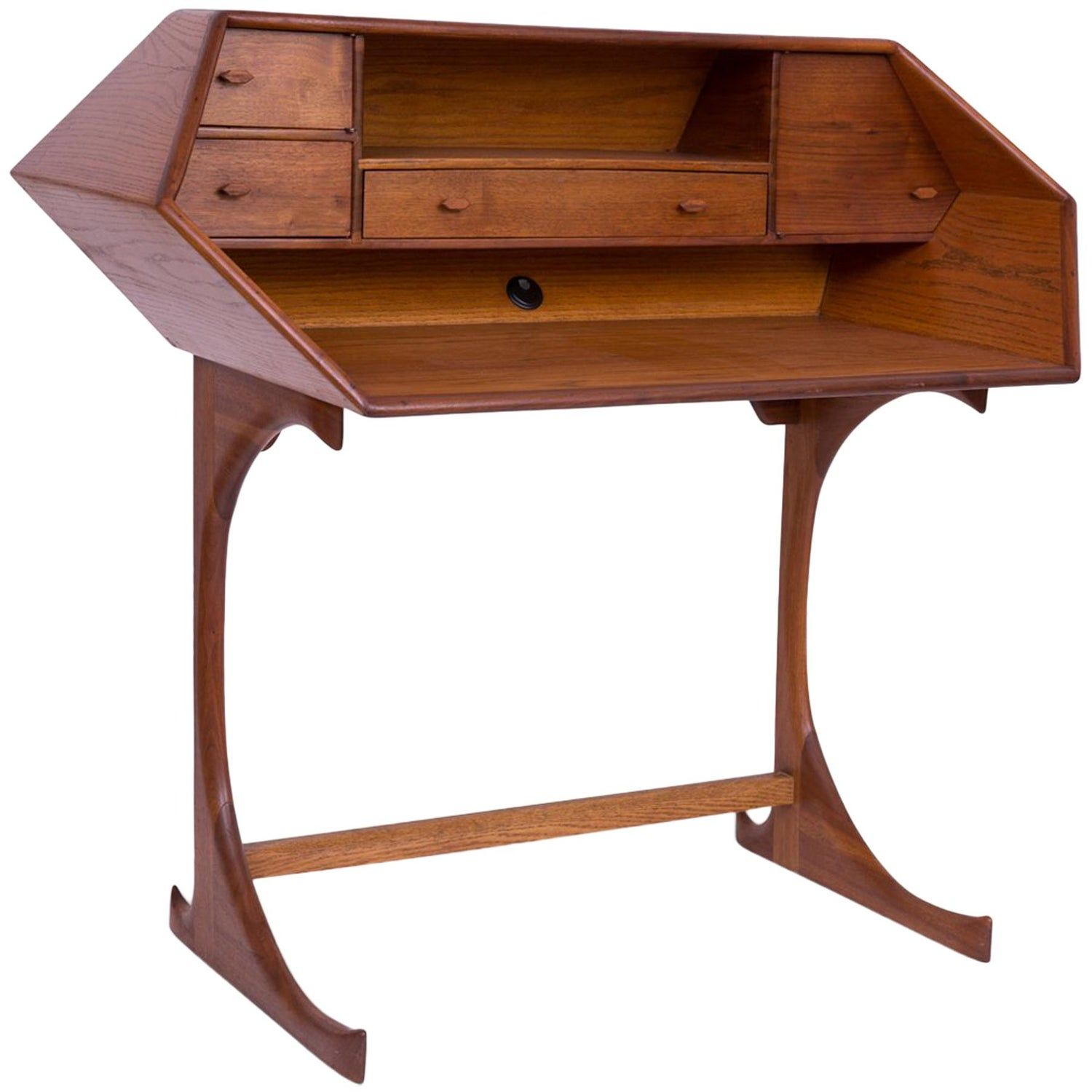 Studio Crafted One off Walnut and Oak Desk (With images)  Oak