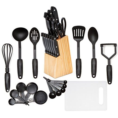 hullr 30 piece kitchen utensils and knife block set all purpose rh pinterest com