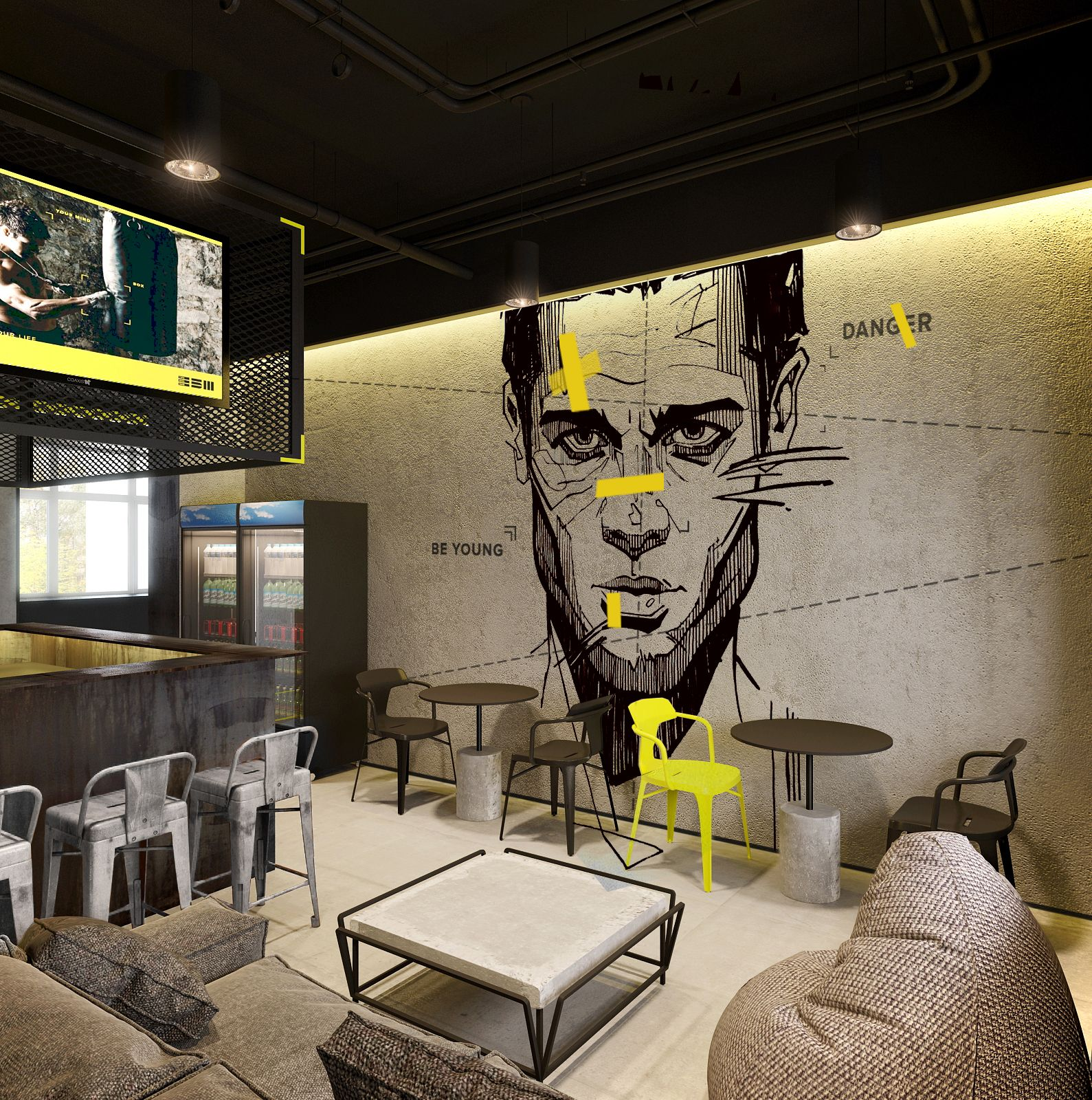 Gym Interior Fitness Design And: Stunning Graphic Mural In Break Away Area