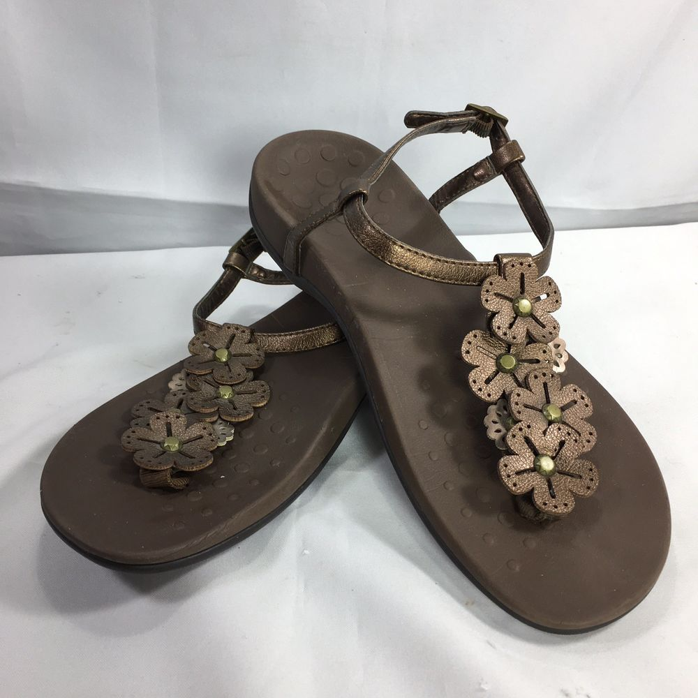 0ecbde4de5e9 Vionic Sandal Adjustable T-strap Floral Size 8 Brown Leather Gold Paulie   Vionic  Sandal