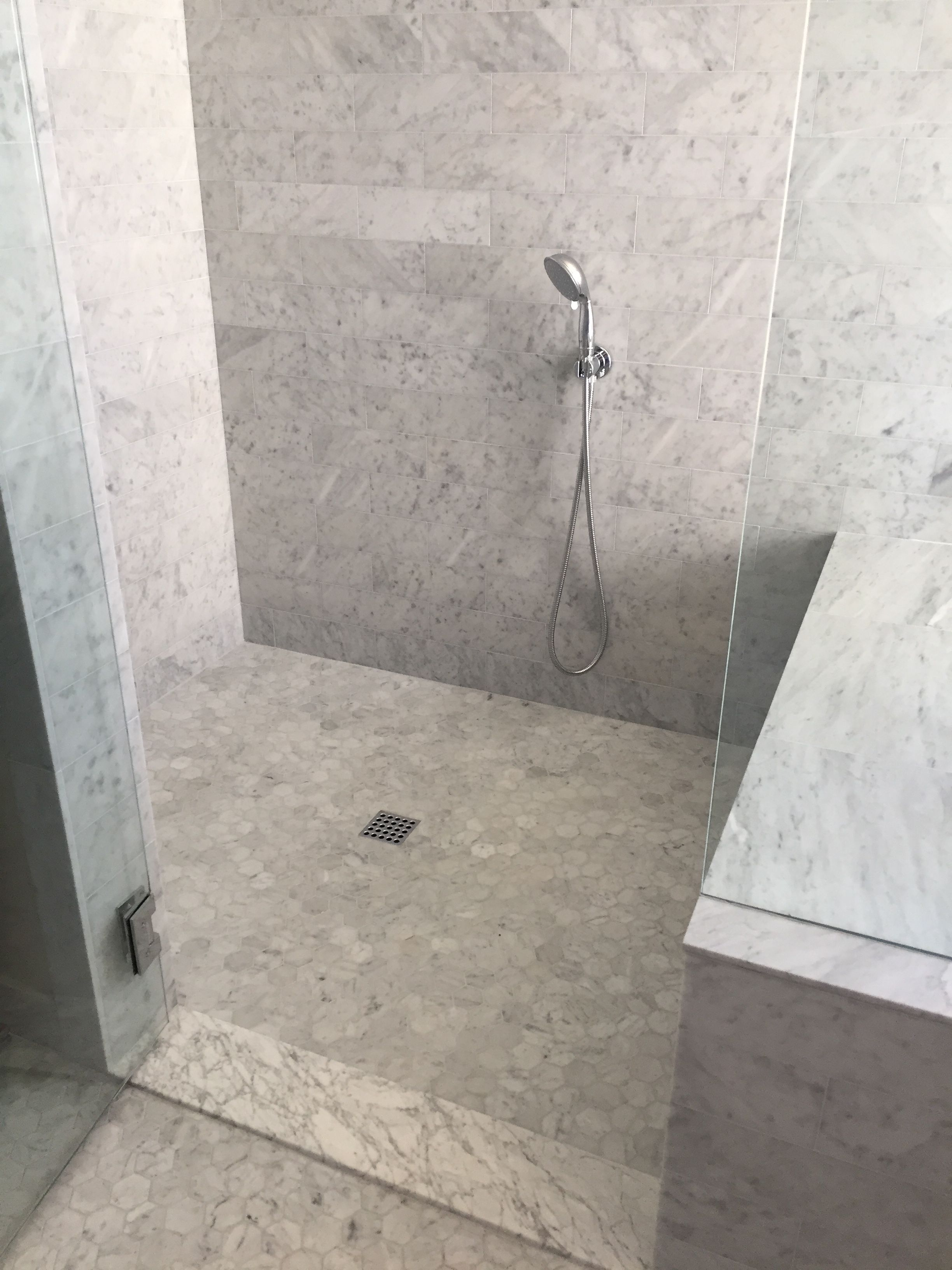 Carrara marble bathroom shower