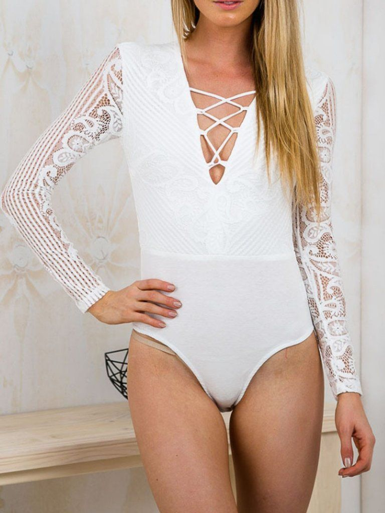 White Strappy Front Crochet Lace Long Sleeve Bodysuit - MYNYstyle ... 01552d9c5