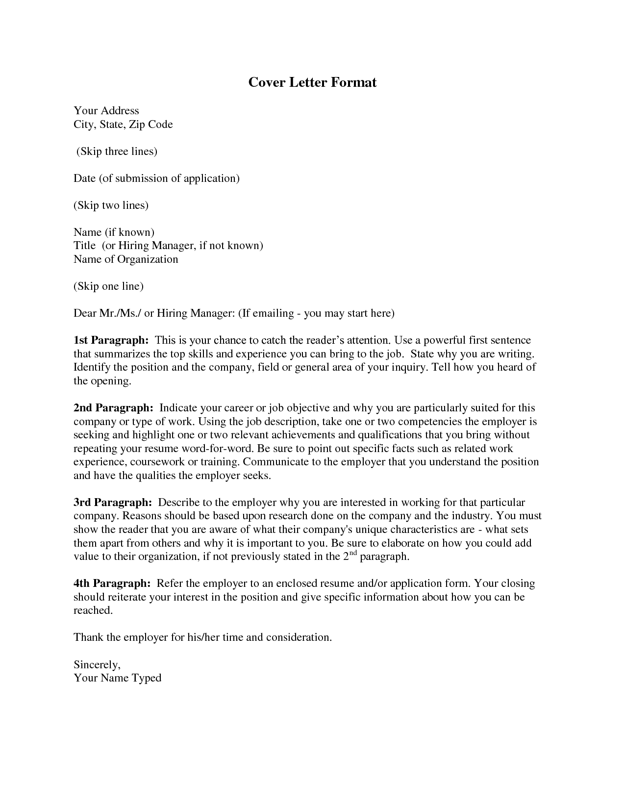 application form cover letter - Formatting A Cover Letter