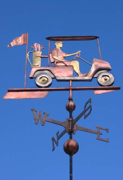 Golf Cart Weathervane with Golfer by West Coast Weather Vanes