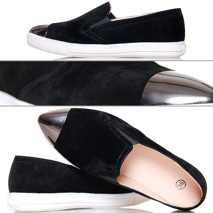Trampki Czarne Zamszowe Slip On Srebrny Nosek Slip On Sneaker Sneakers Shoes