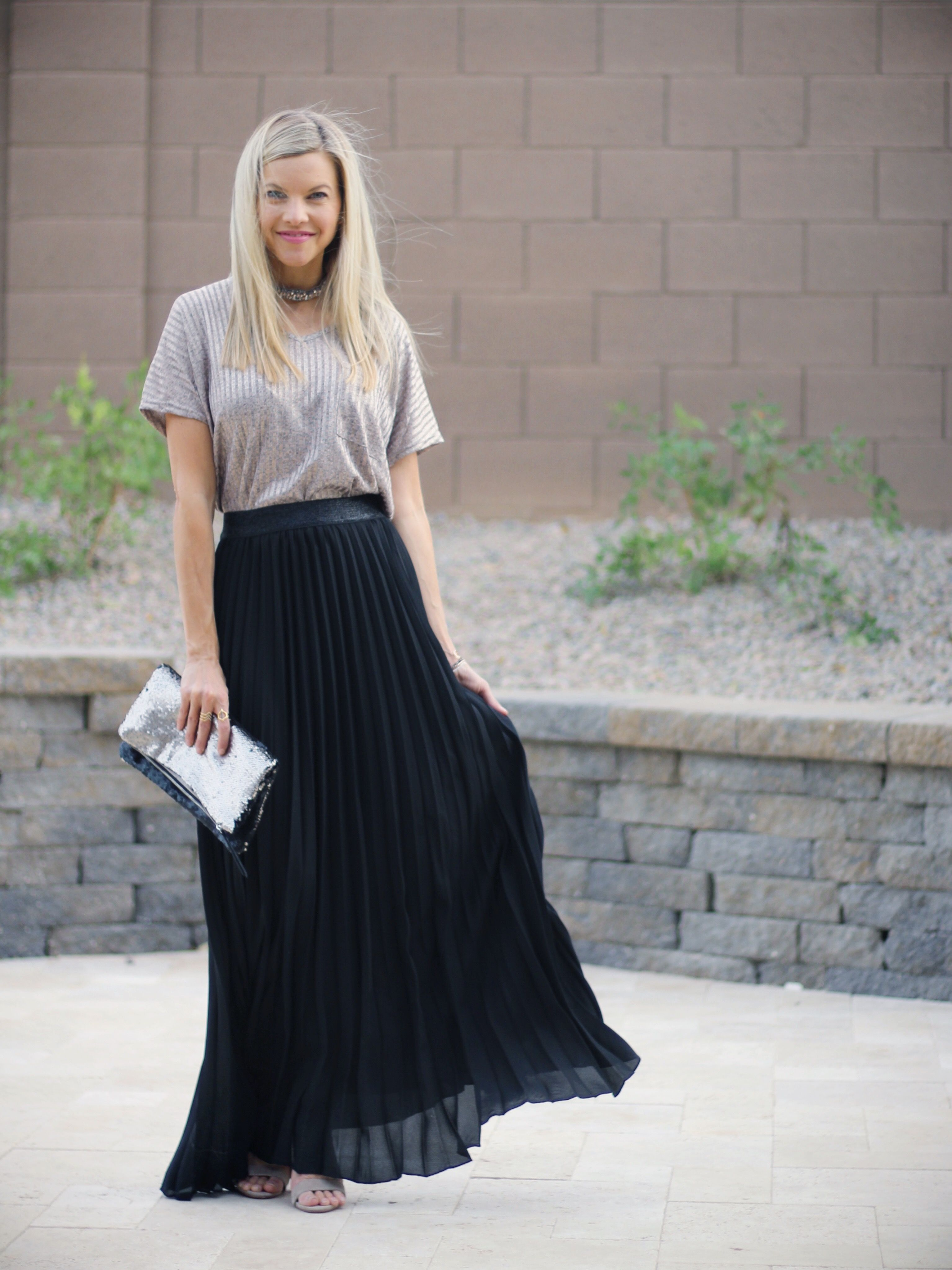 18 Gorgeous Outfits With Pleated Maxi Skirts foto