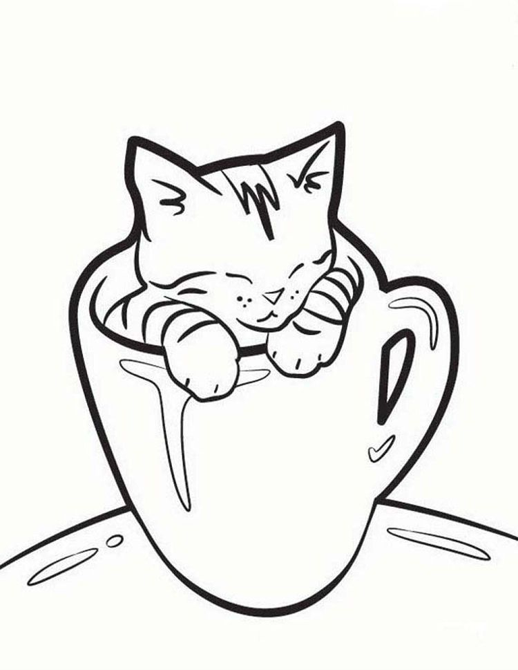 Sleeping Kitten Coloring Pages Cat Coloring Book Kittens Coloring Kitten Drawing