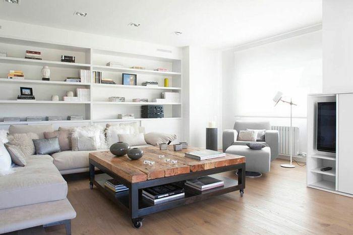 Kreative DIY Ideen für einen Couchtisch auf Rollen Couchtisch - wohnzimmer dekoration grau