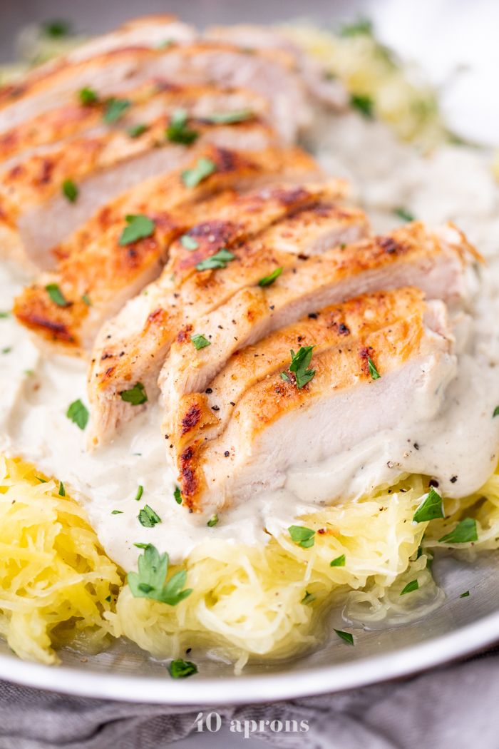 Healthy Chicken Alfredo (Paleo, Whole30, Dairy Free) A rich and creamy chicken alfredo that's super healthy! Quick and easy to throw together, this healthy chicken alfredo recipe uses a dairy-free cashew alfredo sauce and spaghetti squash