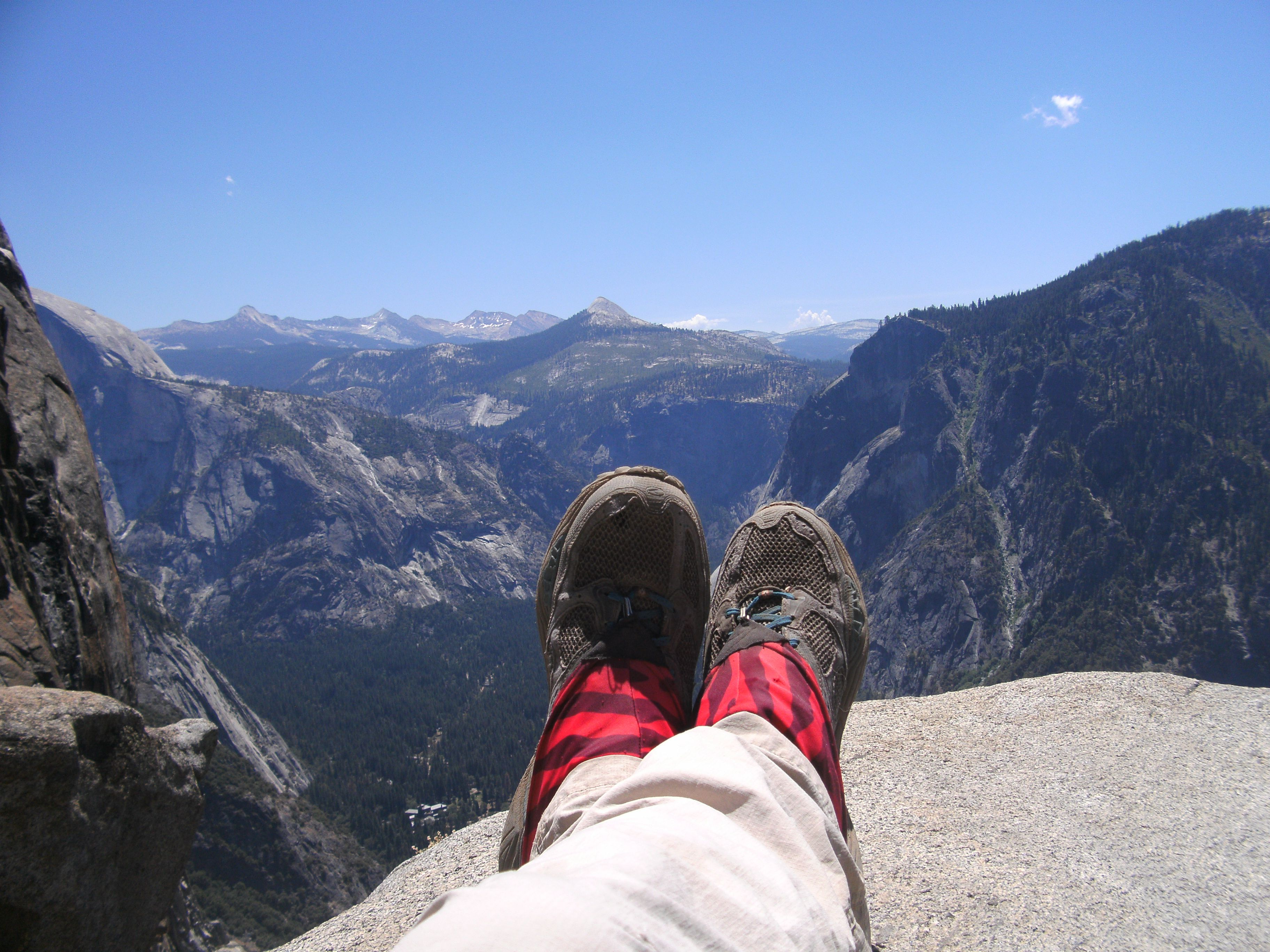 Near the top of Yosemite Falls.  Wow what a view!