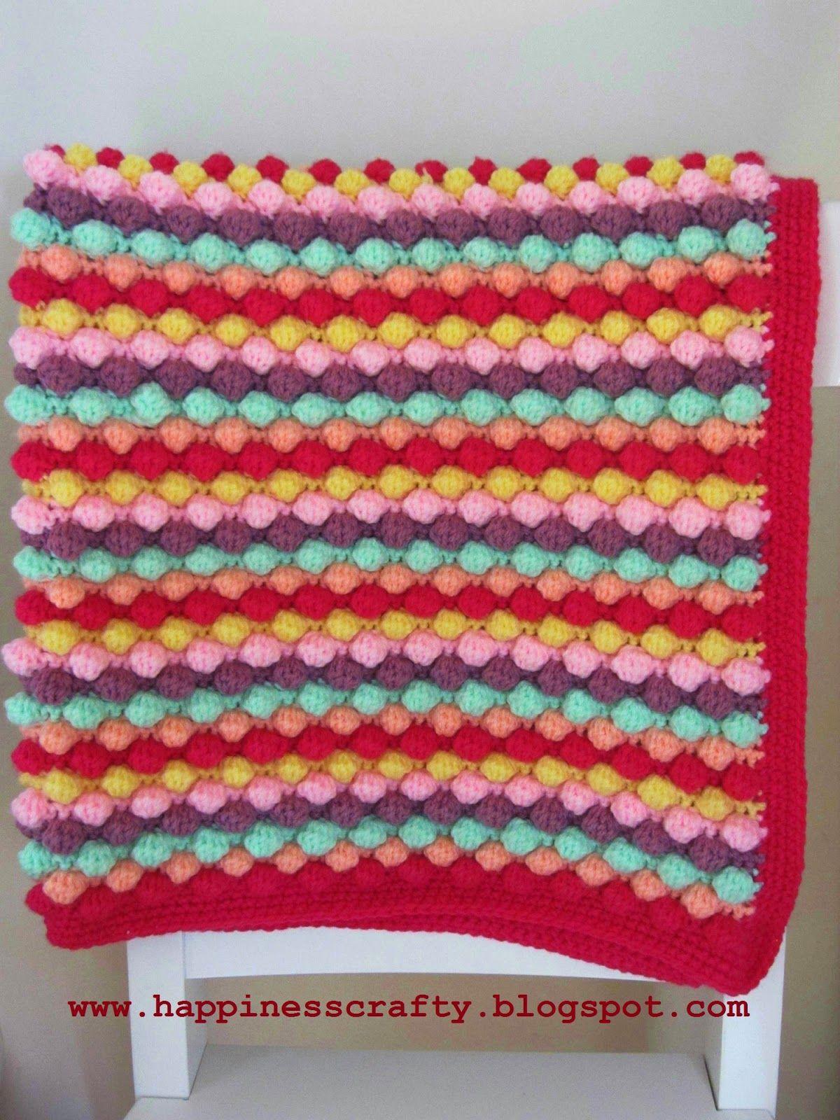Happiness Crafty: Crochet Baby Girl Bobble Blanket ~ Free Pattern ...