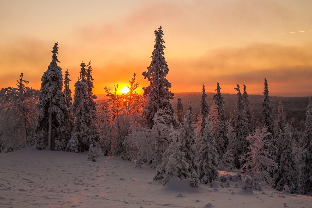 Lapland sunset by Fahlaemee-Stock.deviantart.com on @deviantART
