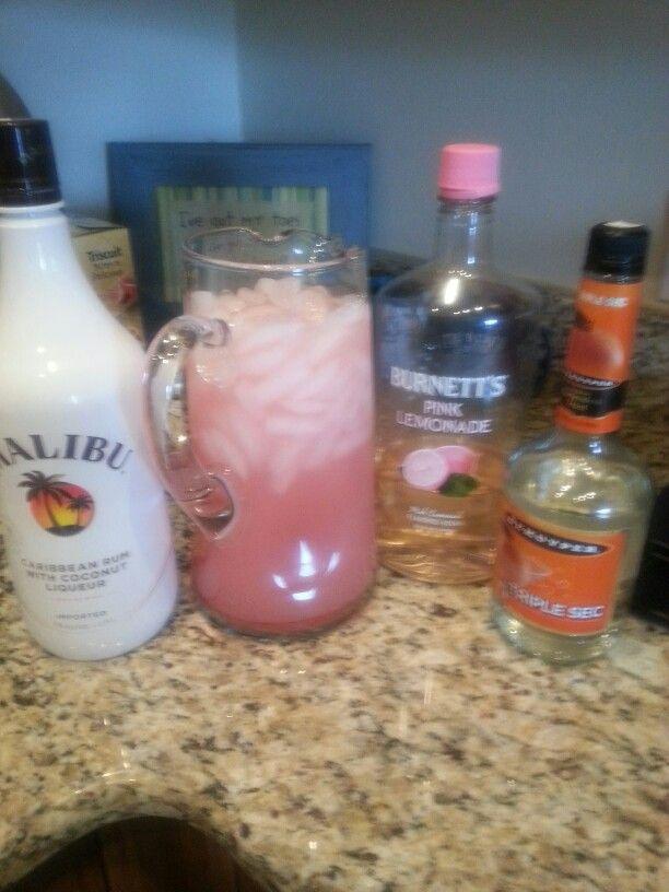 SEA GAL JUICE 1 Cup Pink Lemonade Vodka 1/3 Cup Triple Sec 1/3 Cup Malibu  Rum 1 Pkg. Crystal Light Lemonade Make In One Quart Pitcher And Fill With  Water.