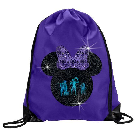 dff037e7e7d Haunted Mansion Hitchhiking Ghosts Glitter Backpack  Disney Minnie Mouse  Glitter Drawstring Bag  Hau