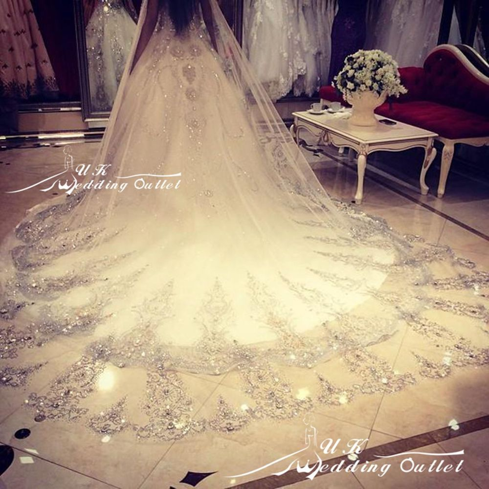 New Champagne Bridal Veil Sequin Cathedral Wedding Veils Custom Comb In Stock