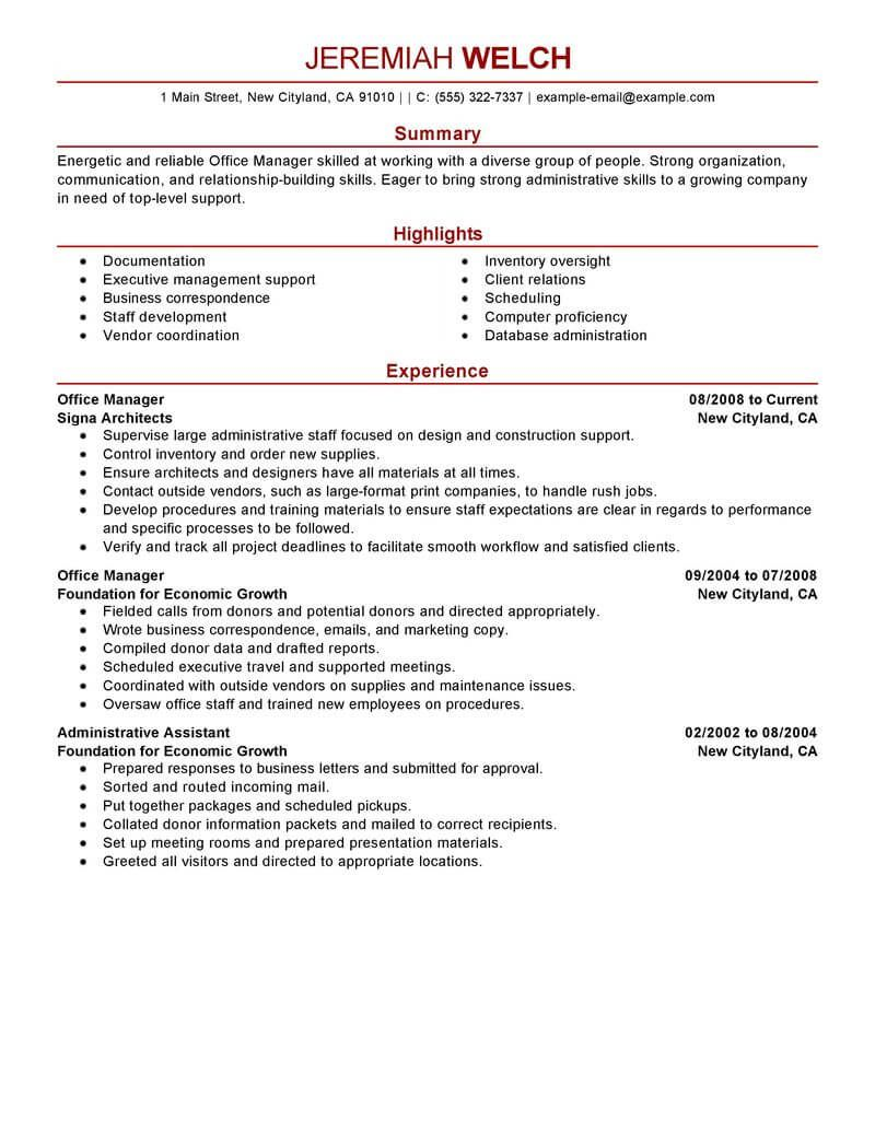 Resume Examples Office Manager Good resume examples
