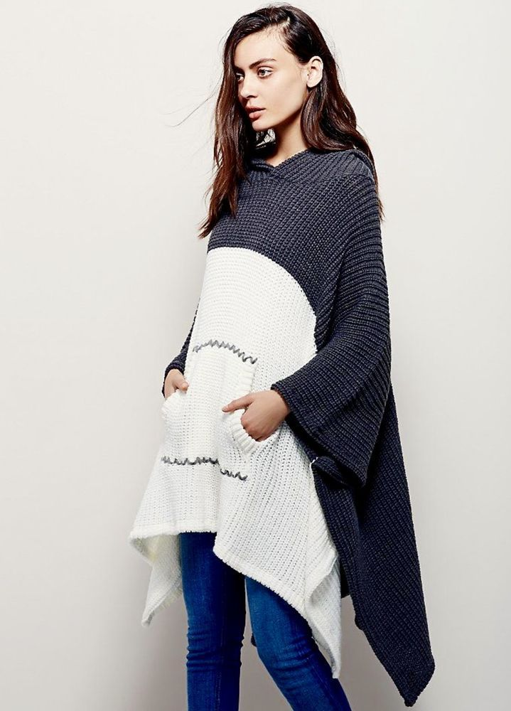 4c043f843e NEW Free People X gray white Chunky Heavy Hooded Colorblock Sweater Poncho  O/S #FreePeople #hoodedponcho