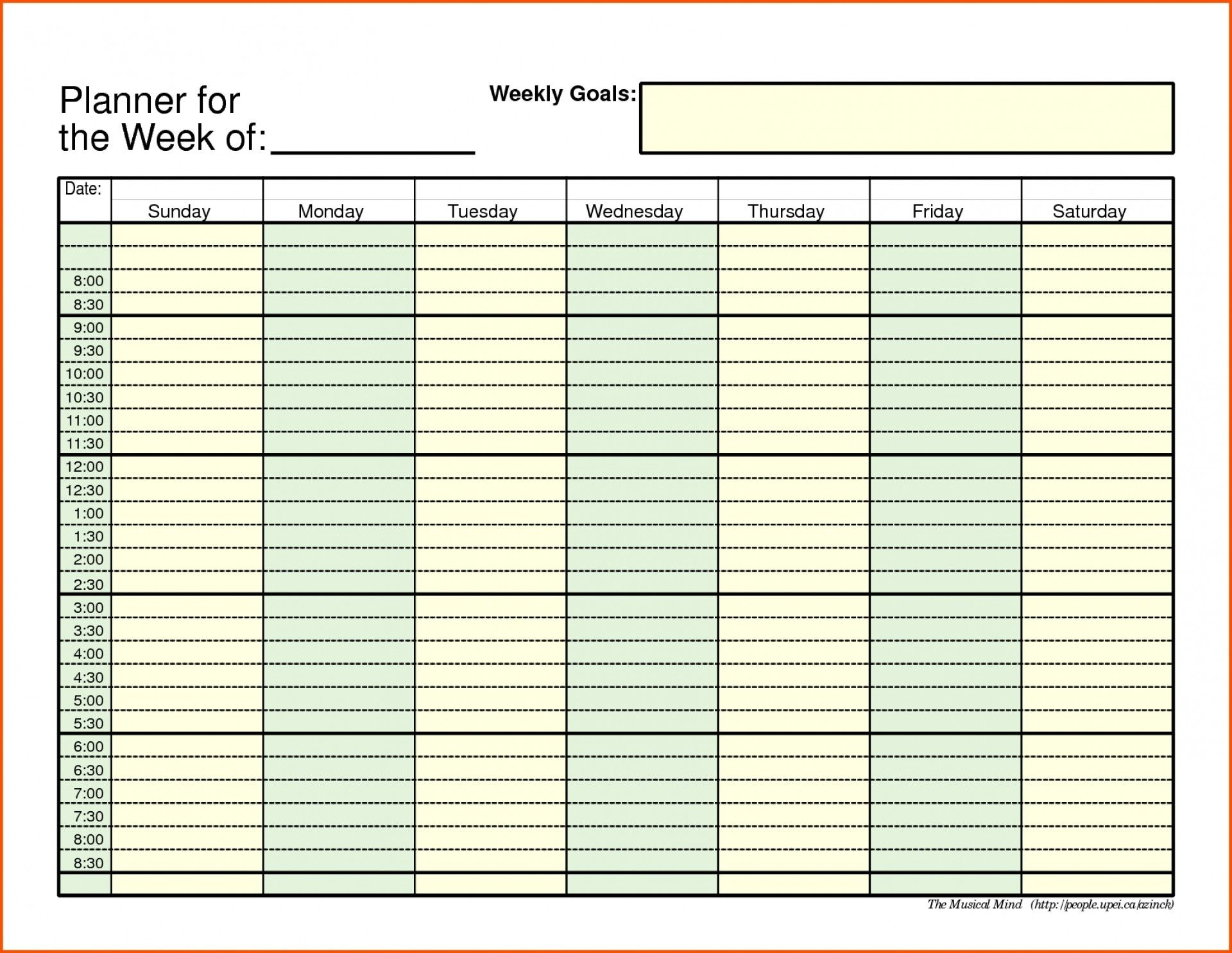 Catch Blank Daily Schedule With Time Slots