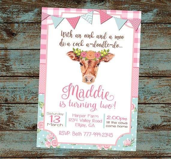 Farm Birthday Invitation Party Oink Moo Turning Two 2nd Flower Cow Girl Digital File DIY
