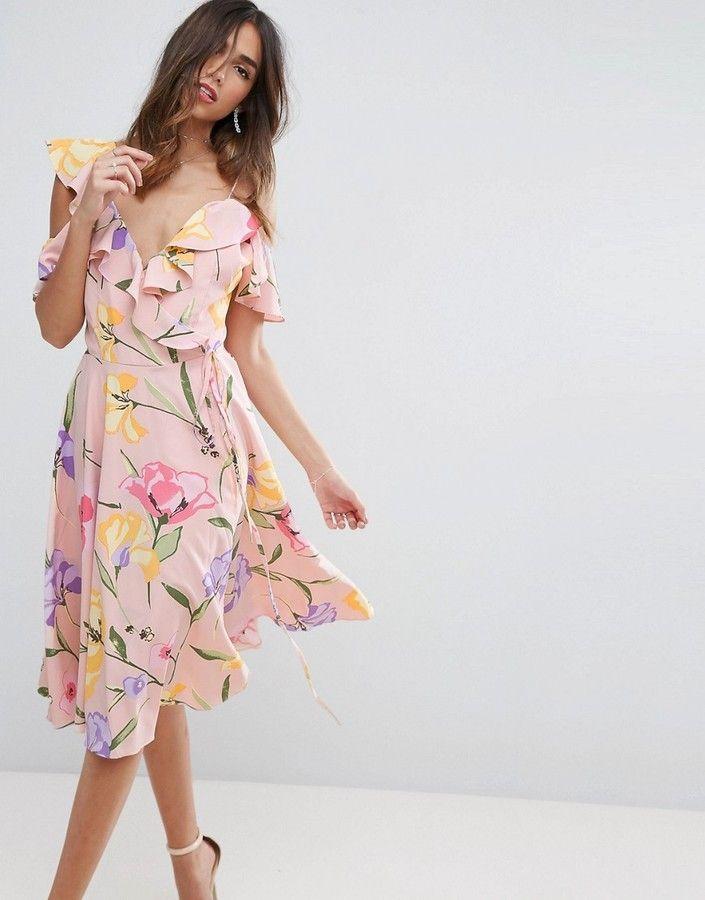 Asos Floral Cold Shoulder Cami Ruffle Printed Midi Dress