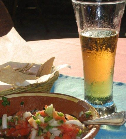 Mango shrimp and fish ceviche with an ice-cold cerveza
