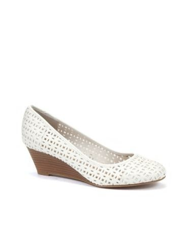White Cut Out Wedge Pumps by New Look