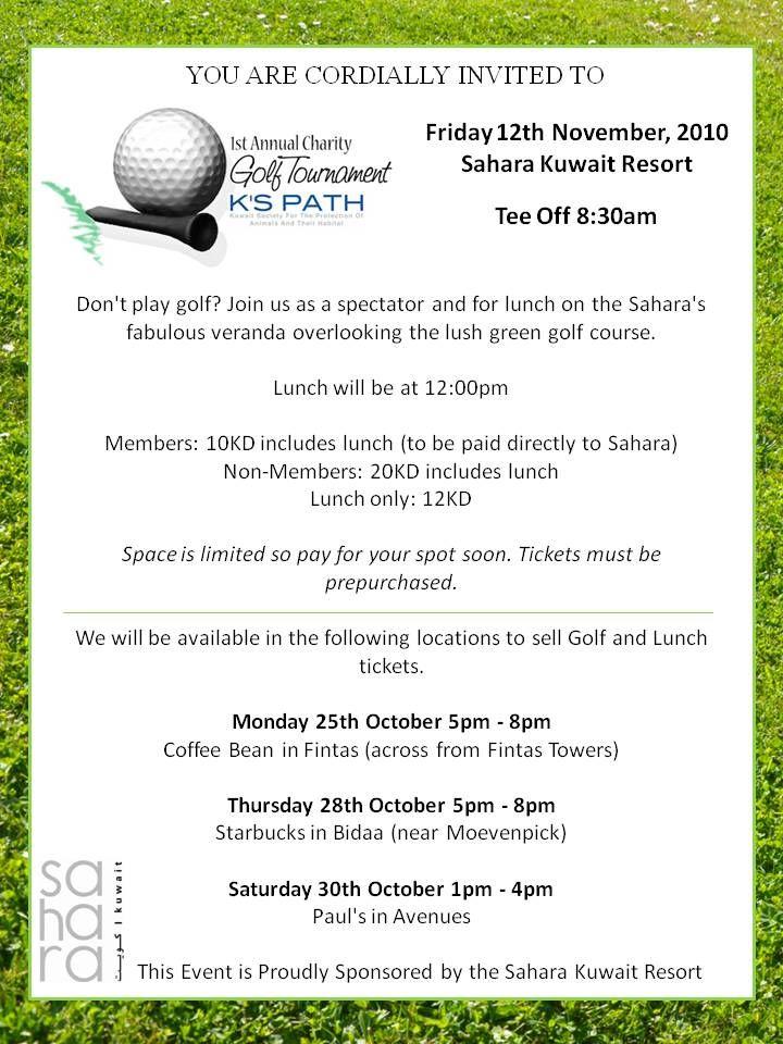 Charity Golf Tournament Invitation Letter