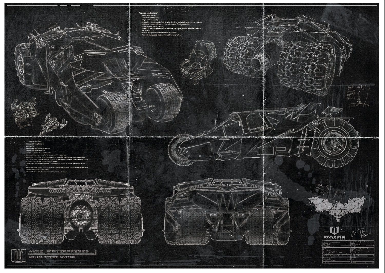 Batman Batmobile Tumbler Blueprint Art Print A2 420mm