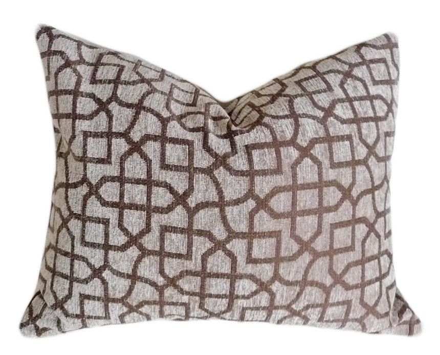 Taupe Geometric Throw Pillows, Textured Decorative Cushion ...