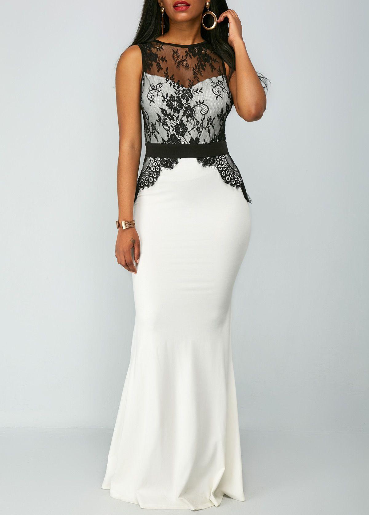 Zipper back lace panel high waist mermaid dress pinterest