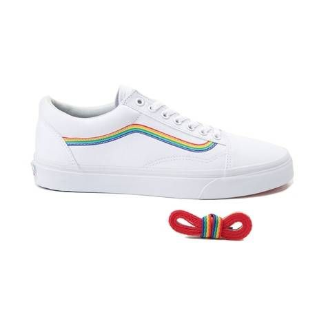4a18cacde158f3 Vans Old Skool Rainbow Skate Shoe - white - 497266