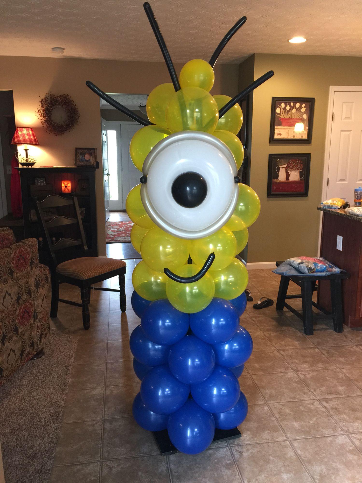 Minion balloon tower balloons pinterest