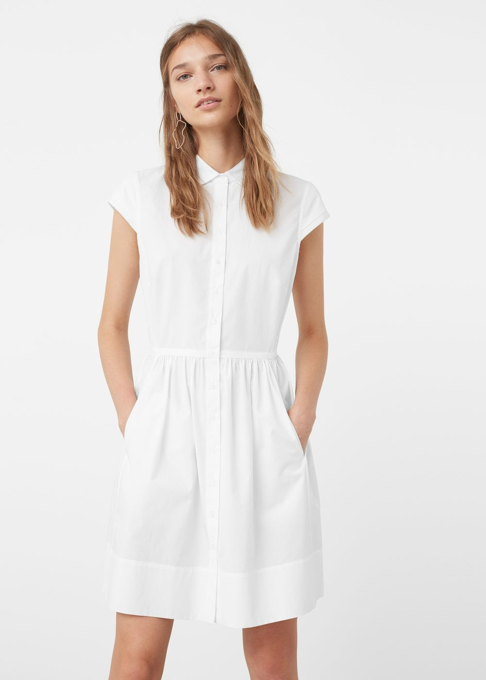Vestido de trabalho de manga comprida casual com gola de manga curta