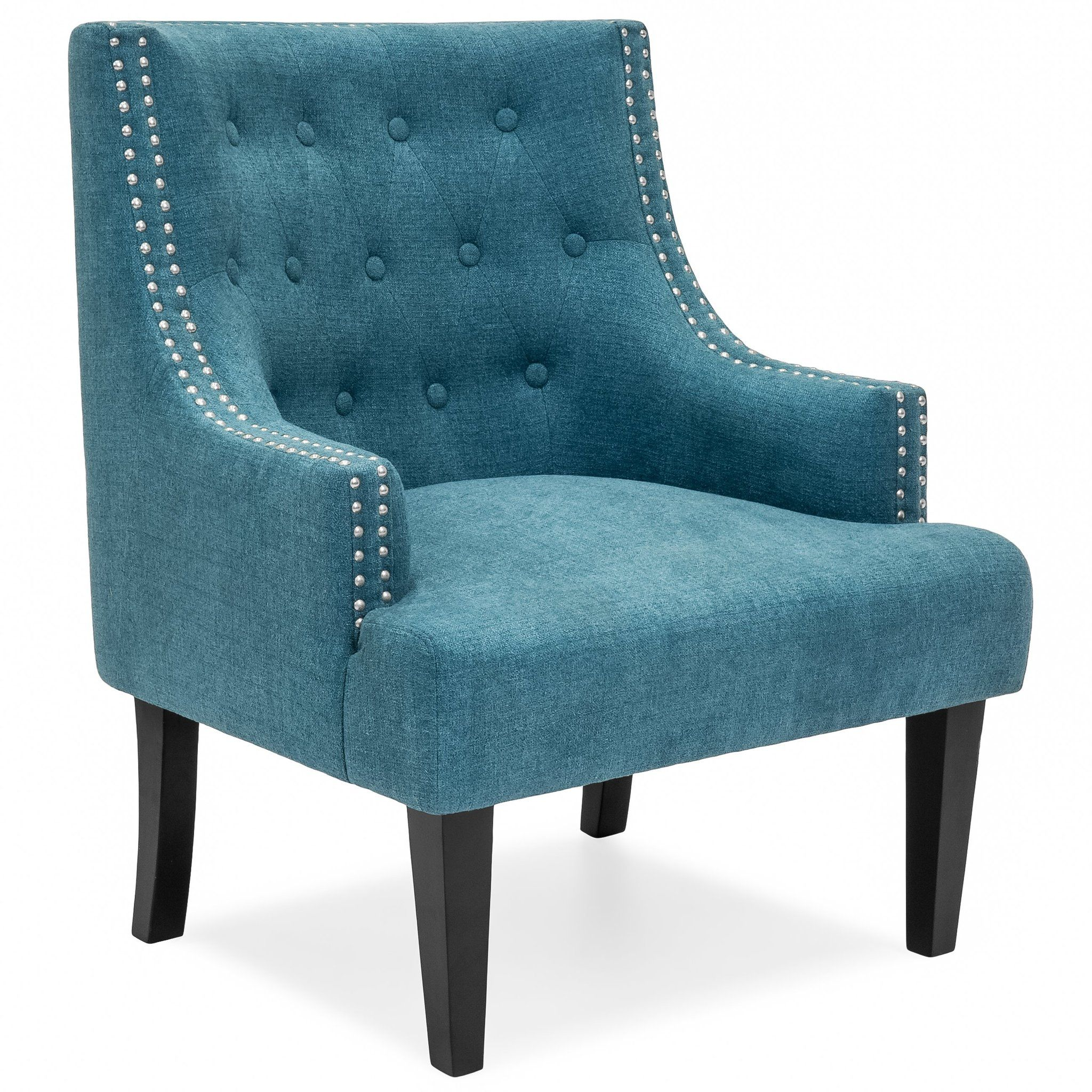 Classic Tufted Accent Chair w/ Nailhead Details & Wooden
