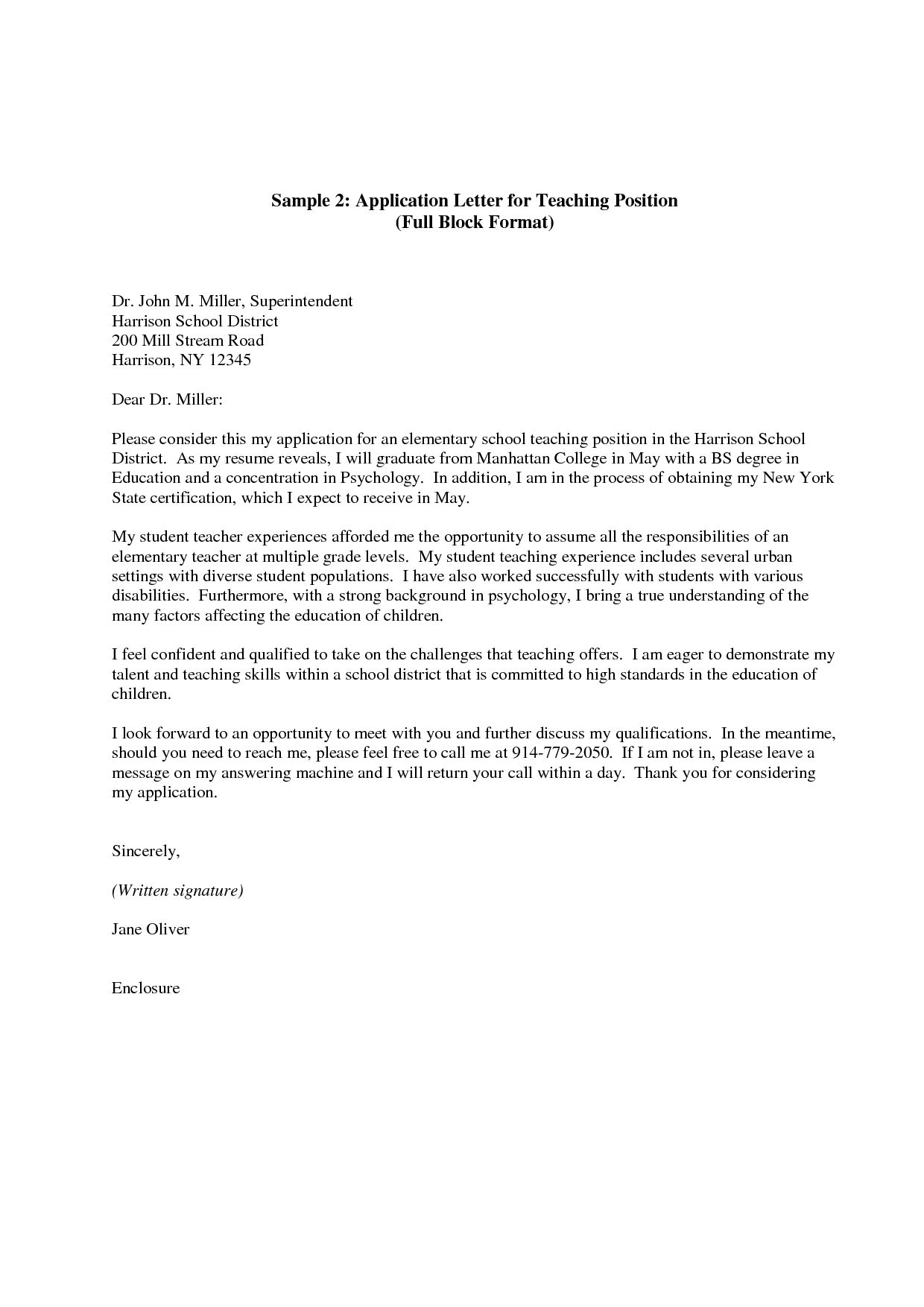 30 Teacher Cover Letter Application Letter For Teacher Letter