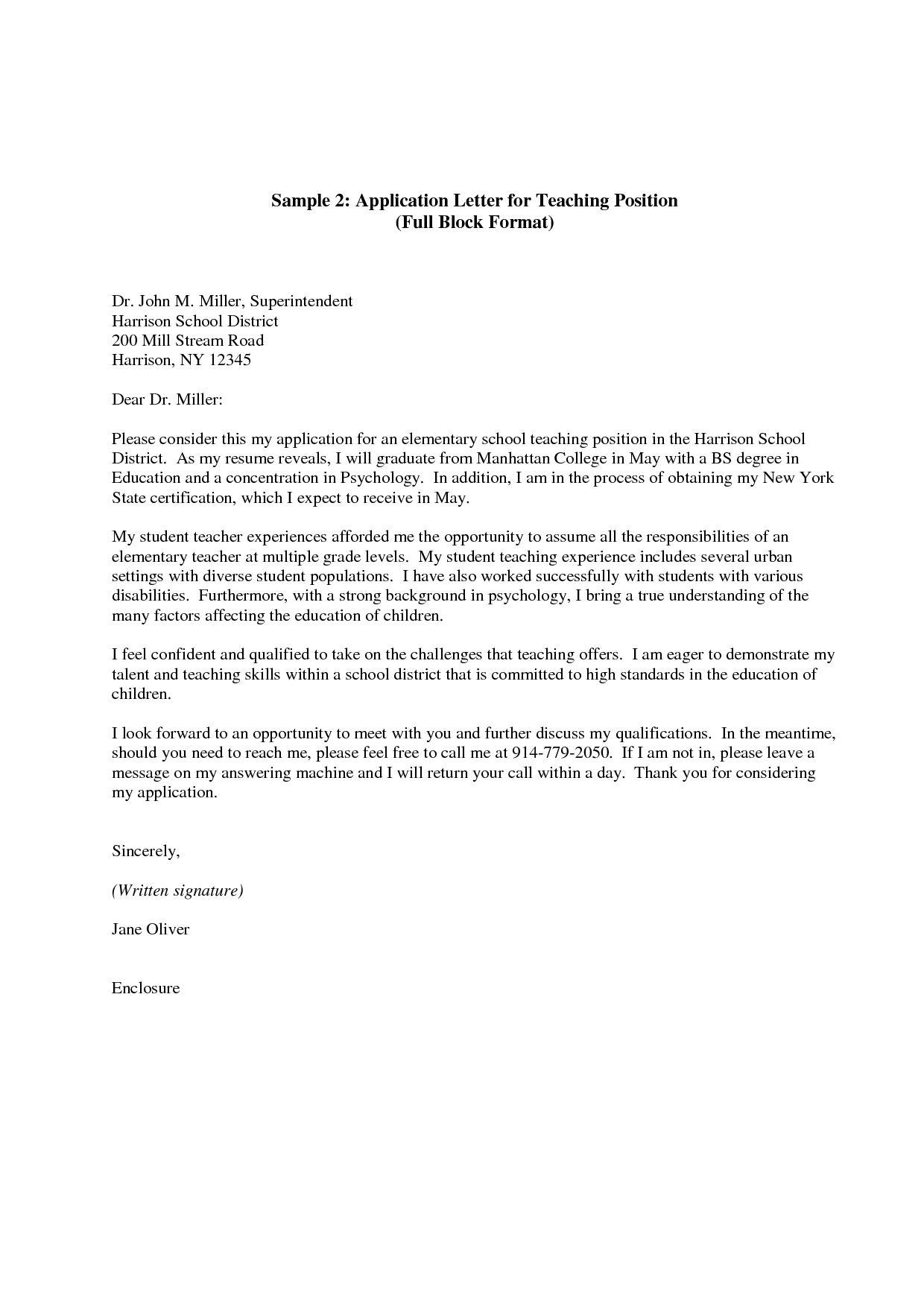 30+ Teacher Cover Letter Application letter for teacher