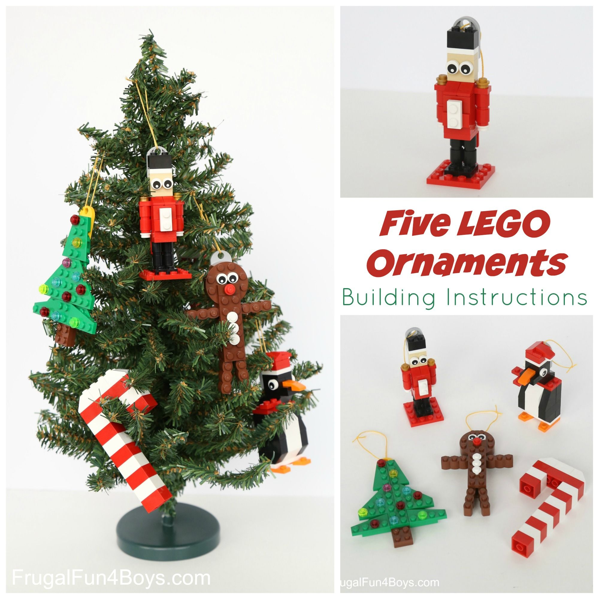 Five Lego Christmas Ornaments To Make With Building Instructions Frugal Fun For Boys And Girls Lego Christmas Ornaments Lego Christmas Christmas Ornaments To Make
