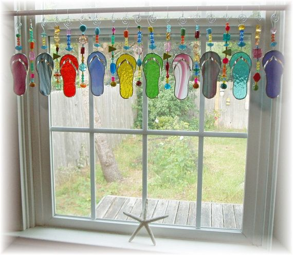 Reserved For Carol Flip Flop Valance Stained Gl Window Treatment Kitchen Curtain