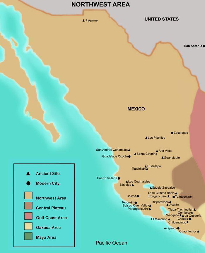 FAMSI - Map - Northwest- Mesoamerica | MesoAmerica | Map, North west ...