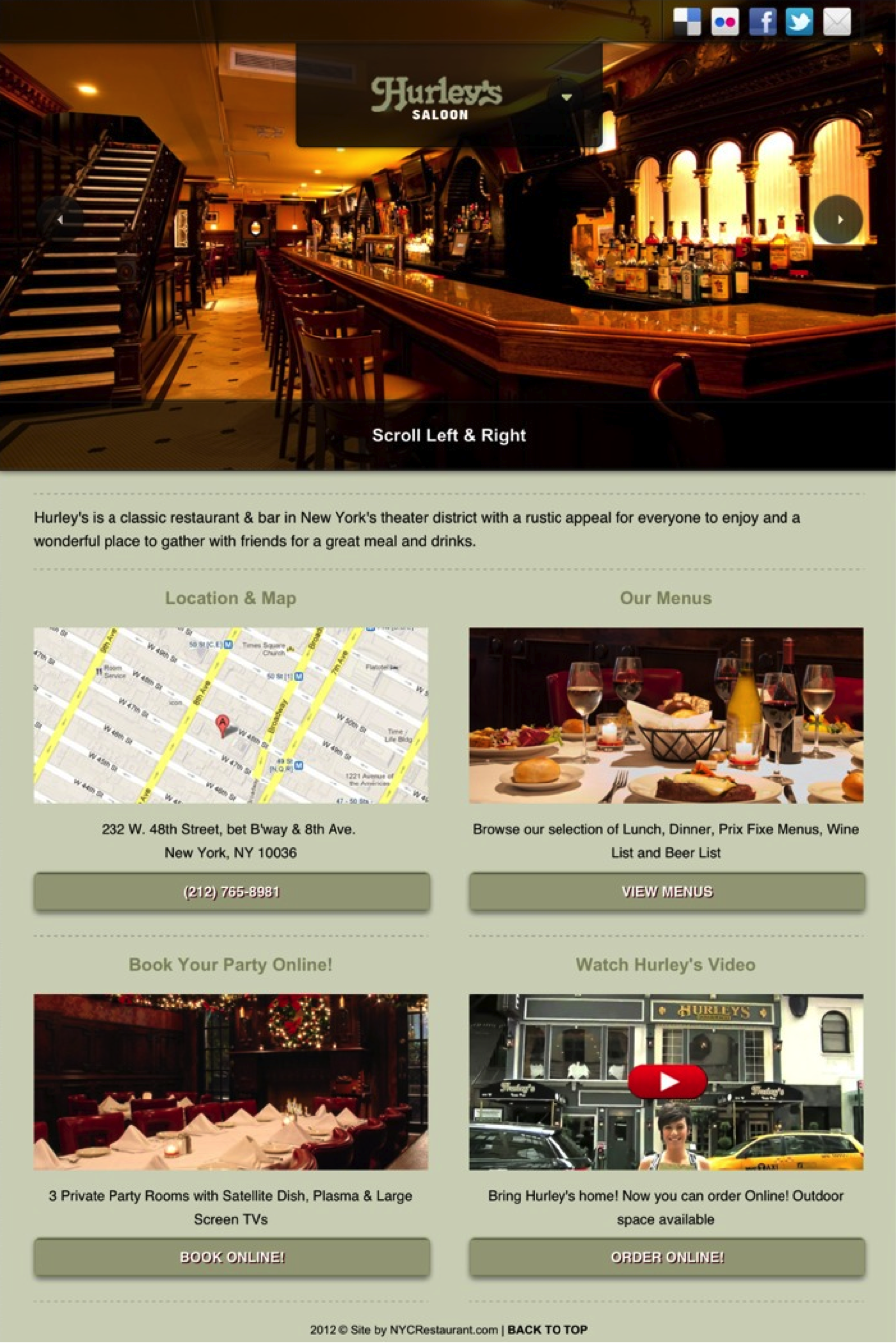 Hurley's mobile web page #mobile #web #design #homepage #content #iphone #ipad  #photography #graphics #content #nycrestaurants #hurleys #bar #eat #drink #NYC Visit our website on your mobile device! www.hurleysnyc.com