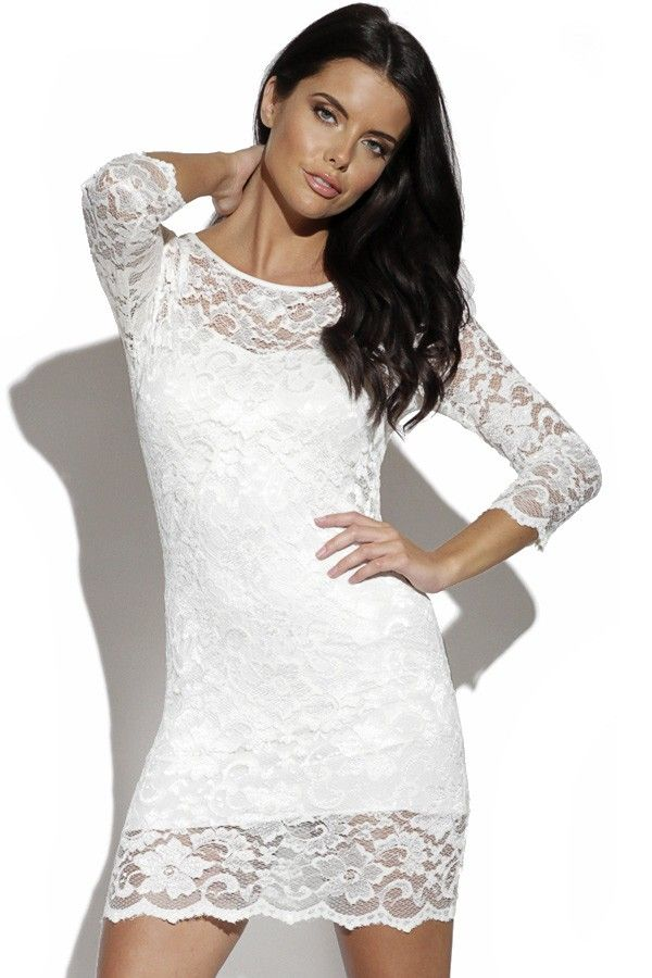 Elegantné Biele Čipkované Šaty