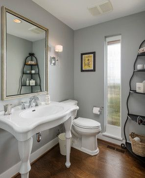 Dyna Blakely Contemporary Powder Room Seattle Contracting Benjamin Moore Coventry Gray