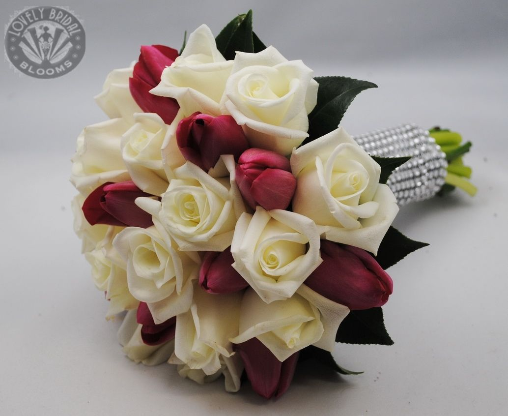 Red Tulips And White Rose Wedding Bouquet