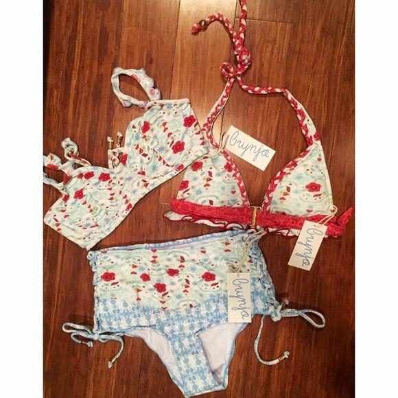 Three piece bundle - M Brynja swimwear bundle size medium | gorgeous detail & mix n' match | gold hardware | underwire in one top & removable padding in other. Swim Bikinis