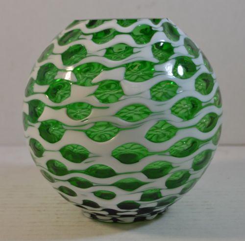 Vintage Green and White Murano Art Glass Vase in Pottery & Glass, Glass, Art Glass, Italian   eBay