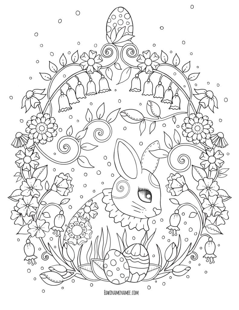 Free Instant Download Bird And Flowers Easter Egg Coloring Pages